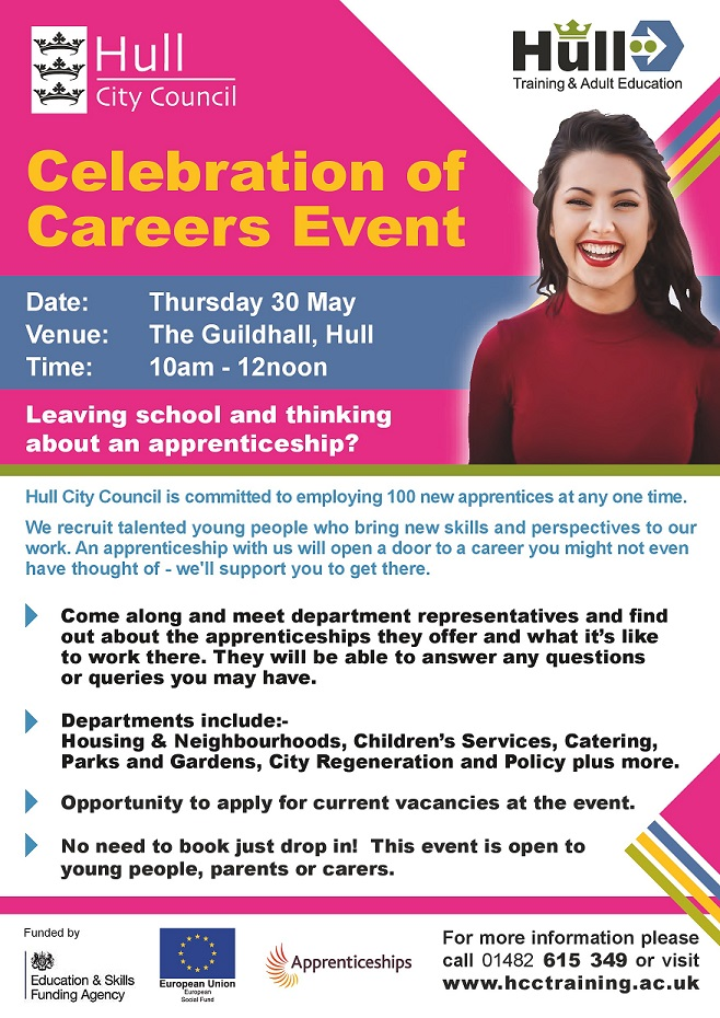 Young woman promoting apprenticeship event at the guildhall on thursday 30 may 10-12noon
